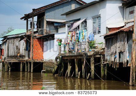 Houses along Mekong River