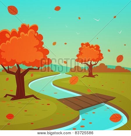 Cartoon Autumn Landscape