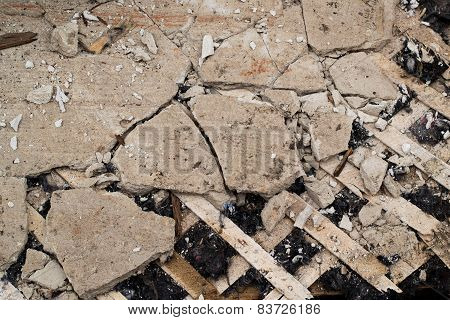 Old cracked plaster and lath