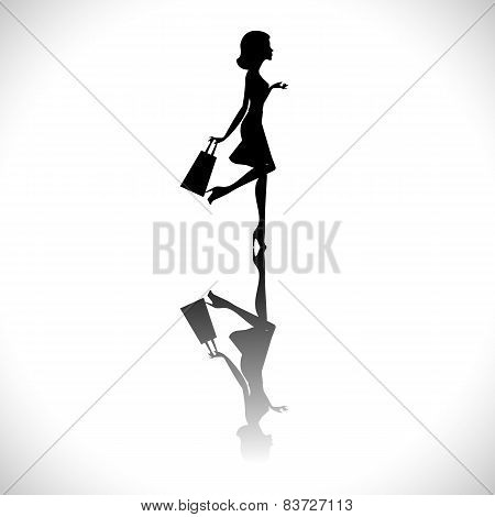 Shopping girl silhouette