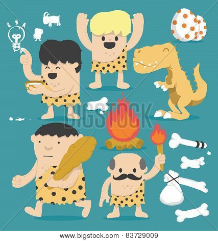 Illustration Cartoon Caveman Set
