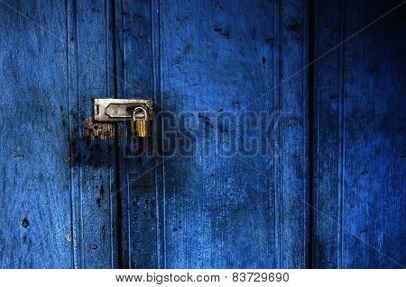 Blue Door Lock With Key.