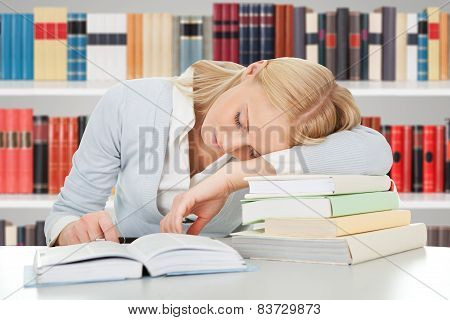 Beautiful Student Girl Tired From Doing Homework