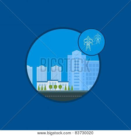 Flat design vector concept illustration with icons of power energy, urban landscape and city life.
