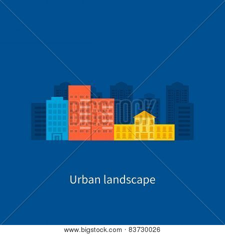 Flat design modern vector illustration icons set of urban landscape and city life