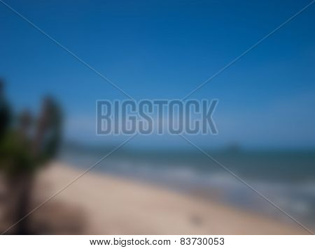 Natural Bright Blurred Background Of Blue Sky And Sea.