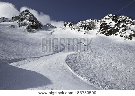 Mountain skitrack on the slope.