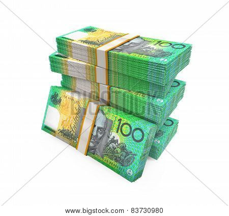 Stacks of 100 Australian Dollar Banknotes