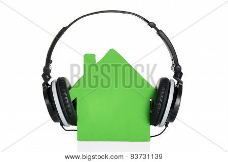 Green House Model With Headphone