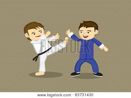 Japanese Karate Versus Chinese Kung Fu Vector Illustration