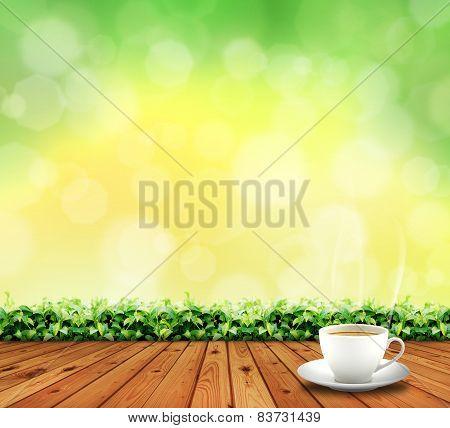 wood floor and tea cup