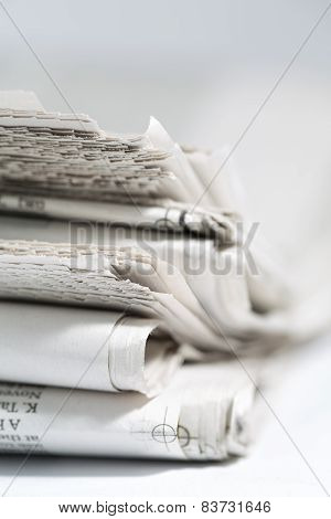 newspaper isolated on white background - Stock Image