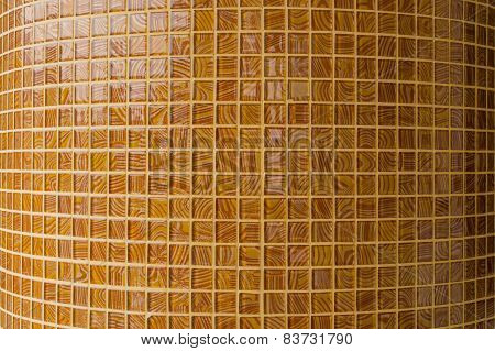 Mosaic In Ancient Style Stacked With Tiny Brown. Background With Mosaic Tiles With Ornament.