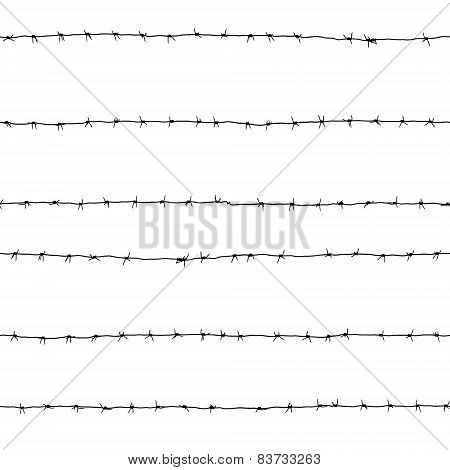 Seamless Texture Of Black Barbed Wire Isolated On White