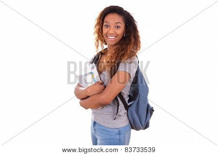 African American Student Girl Holding school Books - Black People