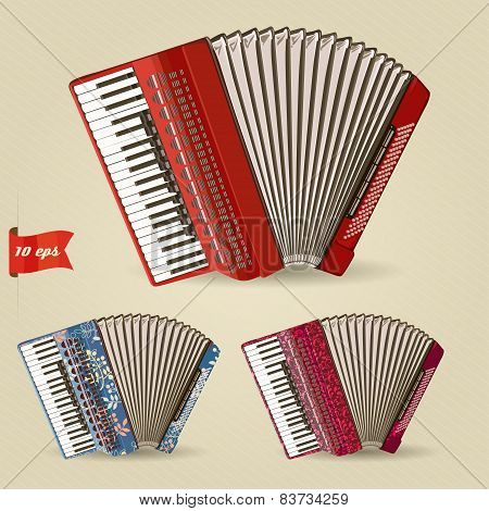 Accordion. Set of musical instruments.