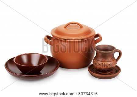 Clay Pot And Different Ceramic Tableware