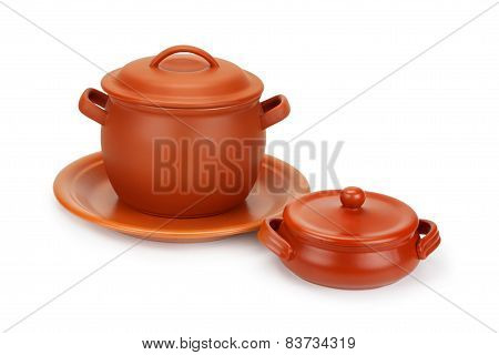 Clay Pots And Clay Plate