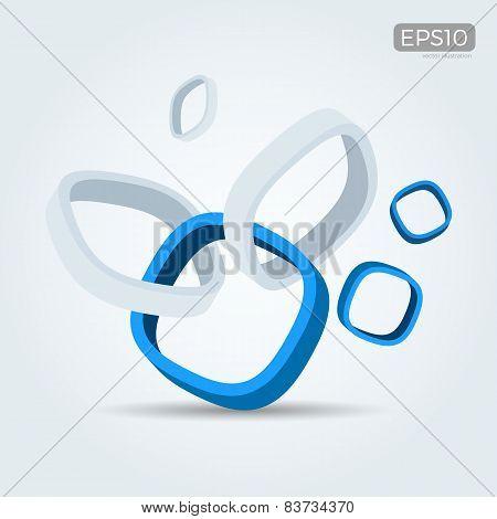 Vector Illustration Of 3D Interlocked Smooth Cubes