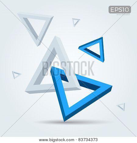 Vector Illustration of 3d interlocked triangles