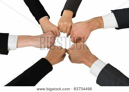 Businesspeople Showing Fist