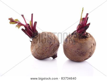 Whole Beetroots With Leaf On White Background