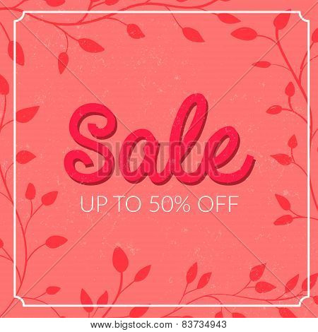 Retro sale poster with grunge texture. Up to 50 off. Vector banner for spring and summer clearance