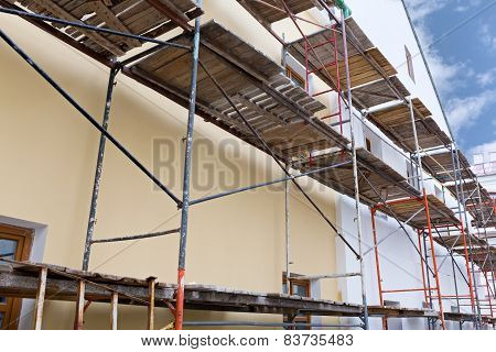 Wall Of Reconstruction Building With Scaffolding