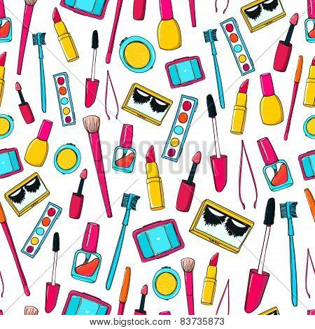 Seamless vector pattern with makeup tools, brushes, mascara, lipstick and pencils. Colorful cosmetic