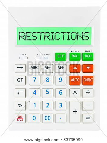 Calculator With Restrictions