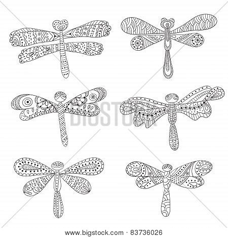 Dragonflies, Abstract Silhouettes On White Background.