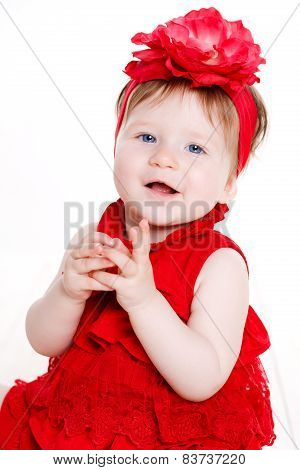 Portrait of a little girl on a white background.