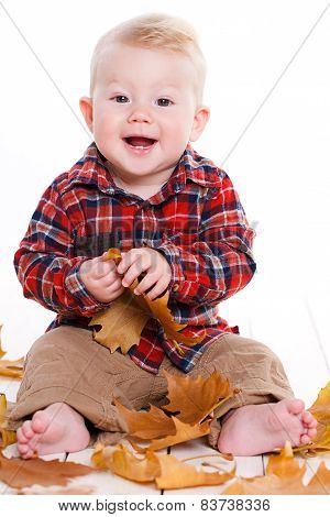 Little boy playing on the floor with maple leaves.
