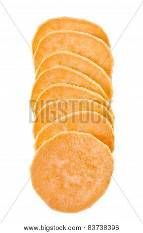 Chopped Sweet Potatoes On White