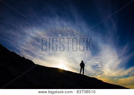 Female Hiker On Mountain For Sunrise Or Sunset