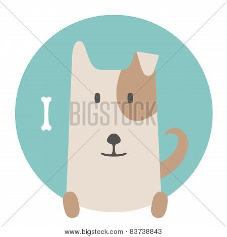 Animal set. Portrait in flat graphics - Dog pet