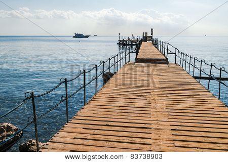 wooden pontoon on Sharm el Sheikh Egypt