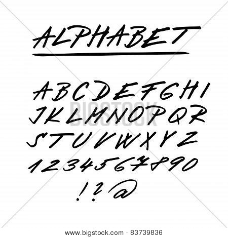 Hand Drawn Vector Alphabet, Font, Isolated Upper Case Letters, Numbers