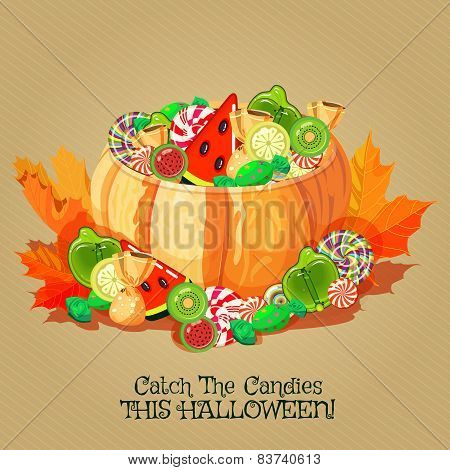 Halloween poster with cupcakes, pumpkin and candies.