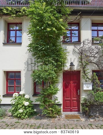 House red door with flowers