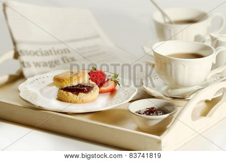 Scone With Strawberry Jam And Clotted Cream , Afternoon Tea Break