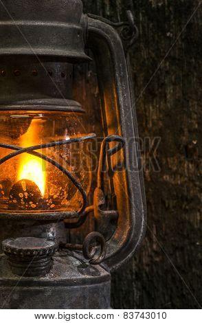 Old Gas Lantern On Wood