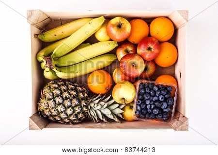 Wood Crate Filled With Organic Ripe Fruit