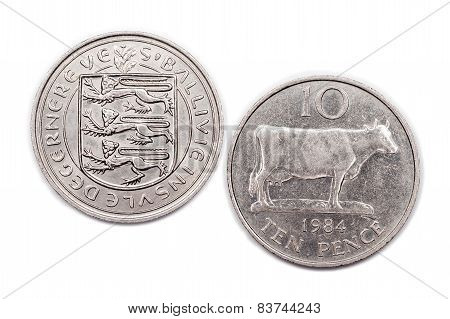 Guernsey Ten pence coin 1984