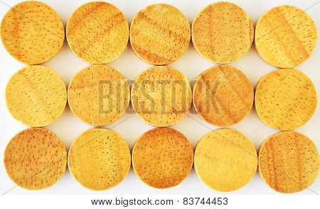 background of wooden circles on a white.