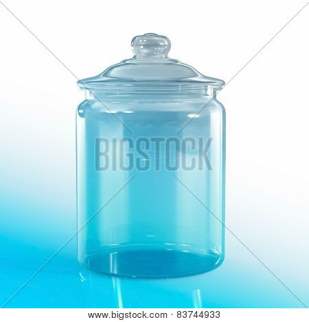 Empty Jar Glass Isolated On Blu Background