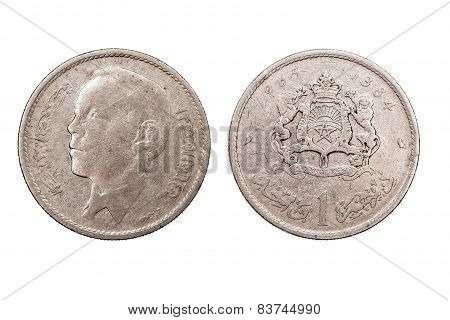 One Dirham coin from Morocco  1965