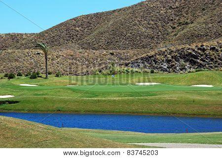 Putting green and lake, Mojacar.