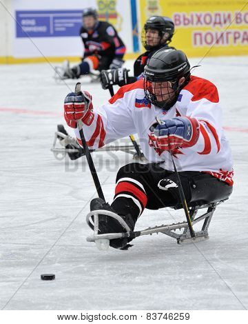 Forward Starting Attack During Sledge Hockey Game