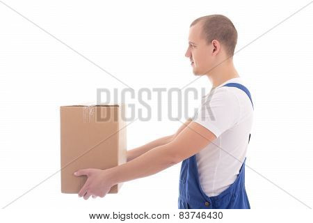Delivery Concept - Side View Of Man In Workwear Giving Cardboard Box Isolated On White